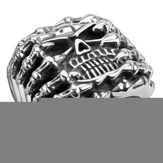 Silver Tone Skeleton Skull in Anguish Ring Heavy Duty Stainless Steel Skull Ring Mens Fashion Jewelry (Size 13) Jewelry