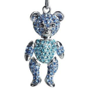 Lilly Rocket Two tone Blue Rhinestone Jointed Teddy Bear Key Chain with Swarovski Crystals Jewelry