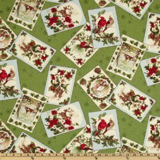 Moda Season's Greeting Tossed Card Holly Leaves Green Fabric