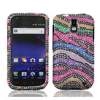 Samsung Galaxy S II S2 S 2 Skyrocket AT&T ATT i727 i 727 Cell Phone Full Crystals Diamonds Bling Protective Case Cover Black with Rainbow Color Zebra Animal Skin Design Cell Phones & Accessories