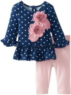Pippa & Julie Baby Girls Newborn Polka Dot Play Set, Blue, 6 Months Clothing
