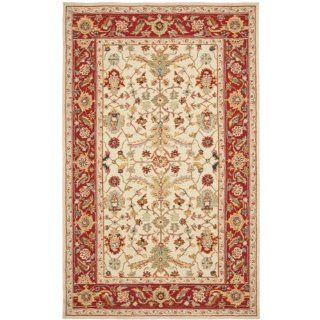 Safavieh Chelsea Collection HK751C 5 Hand Hooked Ivory and Red Wool Area Rug, 5 Feet 3 Inch by 8 Feet 3 Inch