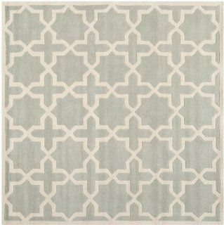 Safavieh CHT732E Chatham Collection Square Area Rug, 9 Feet, Grey and Ivory