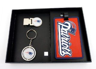 NFL New England Patriots Three Piece Sports Fan Pack  Sports Related Key Chains  Sports & Outdoors
