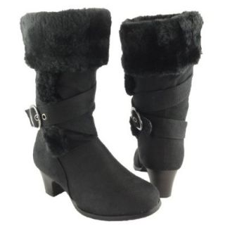 Girls' Faux Fur Collar Mid Calf High Heel Winter Suede Boots Black, 4 Shoes