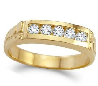CZ Mens Wedding Ring 14k Yellow Gold Band Cubic Zirconia (1/2 Carat) Jewelry