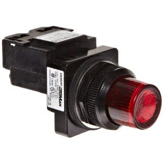 Siemens 52BL5G2 Heavy Duty Pilot Indicator Light, Water and Oil Tight, Glass Lens, Transformer, 755 Type Lamp or 6V LED, Red, 120VAC Voltage