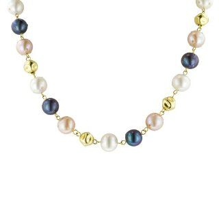 Yellow Gold Plated Sterling Silver White, Pink and Black Freshwater Cultured Pearl with Bead Necklace Jewelry