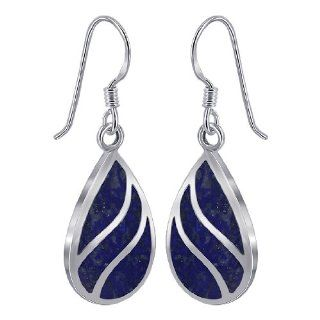 Sterling Silver Blue Lapis Inlay 13mm x 19mm Teardrop with Silver Stripes French Ear Wire Dangle Earrings Jewelry