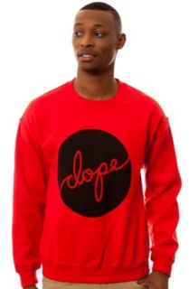 DOPE Men's Script Circle Crewneck Sweatshirt Small Red at  Men�s Clothing store