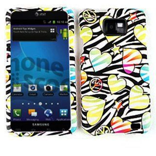 For Samsung Galaxy S II i777 Case Cover   Hearts Stars Peace Black Zebra Rubberized Yellow Blue Pink TE429 Cell Phones & Accessories