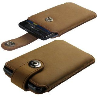 iGadgitz Brown Luxury Genuine Leather Pouch Case Cover with Magnetic Closure for Samsung Galaxy S2 i9100 & Sony Xperia L Android Smartphone Cell Phone. SUITABLE FOR AT & T MODEL ONLY (model number SGH I777) Cell Phones & Accessories