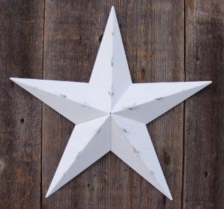 53 Inch Heavy Duty Metal Barn Star Painted Rustic White. The Rustic Paint Coverage Starts with a Black or Contrasting Base Coat and Then the Star Color Is Hand Painted on Top of the Base Coat with a Feathering Look Which Gives the Star a Distressed Appeara
