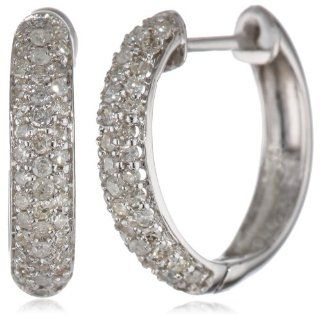 14k White Gold Round Cut Pave Diamond Hoop Earrings (1/2 cttw, H I Color, I3 Clarity) Jewelry