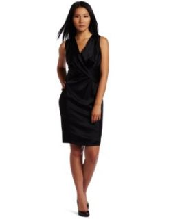 Anne Klein Women's Silk Charmeuse Gather Front Dress, Black, 0