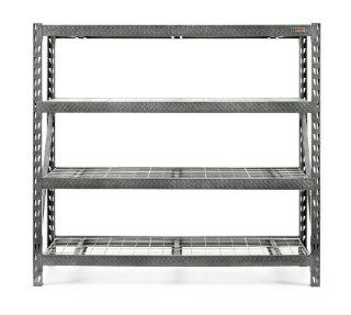 Gladiator GARS774SZG Tool Free 4 Shelf 8000 Pound Capacity Rack Shelf, 77 Inch Wide by 72 Inch Deep   Garage Shelves