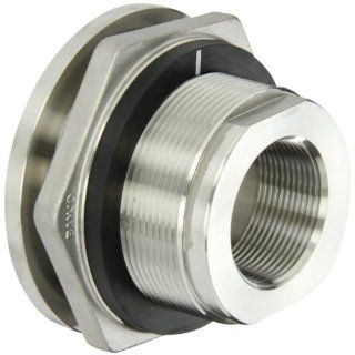 "Banjo TF150SS Stainless Steel 316 Bulkhead Tank Fitting, 1 1/2"" NPT Female Compression Bulkhead Fittings"