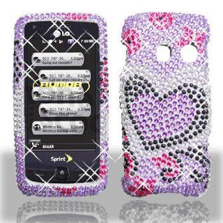 LG Rumor Touch LN510 Banter Touch UN510 Full Diamond Bling Purple Love Hard Case Snap on Cover Protector Sleeve + Biodegradable Screen wipe   Players & Accessories