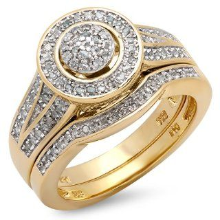 0.50 Carat (ctw) 18k Yellow Gold Plated Sterling Silver White Diamond Round Ladies Bridal Engagement Ring Set 1/2 CT Jewelry