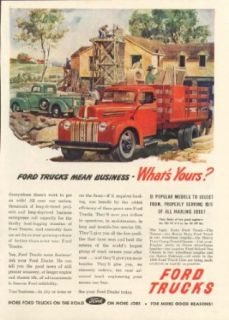 Ford trucks mean business   What's Yours? Ad 1946 Entertainment Collectibles
