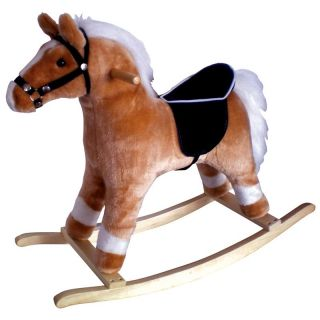 Rustic Blonde Rocking Horse with White Mane and Tail   Rocking Toys