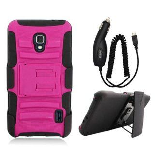 LG OPTIMUS F6 D500 PINK BLACK HYBRID KICKSTAND COVER BELT CLIP HOLSTER CASE + FREE CAR CHARGER from [ACCESSORY ARENA] Cell Phones & Accessories