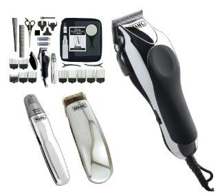 Wahl Chrome Pro Deluxe Mains Hair Clipper, Trimmer & Nasal Trimmer Set Chrome 79524 810 Gift Set Health & Personal Care