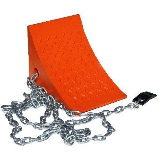 Durable Corporation RMC/811 7 Orange Urethane Wheel Chock, 11.375 Inches Wide, By 8.25 Inches Height By 7.625 Inches Inches Overall, With 15 Foot Attached Chain And Mounting Clip Floor Matting
