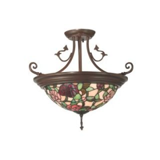 Dale Tiffany Floral Leaf Hanging Fixture Large   18W in. Antique Bronze Paint   Tiffany Ceiling Lighting