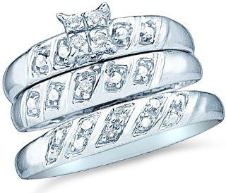 10k White Gold Mens and Ladies Couple His & Hers Trio 3 Three Ring Bridal Matching Engagement Wedding Ring Band Set   Round Diamonds   Princess Shape Center Setting (.08 cttw) Jewelry