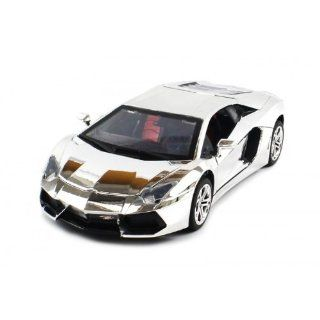 Diecast Lamborghini Aventador Electric RC Car 118 Metal RTR (Chrome Edition) Toys & Games