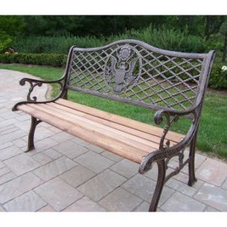 Oakland Living American Eagle Cast Iron and Wood Bench in Antique Bronze Finish   Outdoor Benches