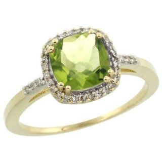 10k Yellow Gold Diamond Peridot Ring 1.5 ct Checkerboard Cut Cushion Shape 7 mm, 3/8 inch wide, sizes 5 10 Jewelry