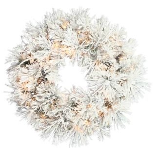 40 in. Flocked Swiss Pine Pre lit Christmas Wreath   Christmas Wreaths