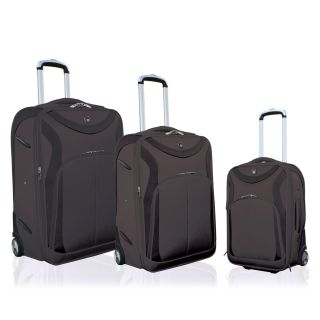 Travelers Club 3 Piece Sleek Traveler Luggage Set with In Line Blade Wheels   Black Glaze   Luggage Sets
