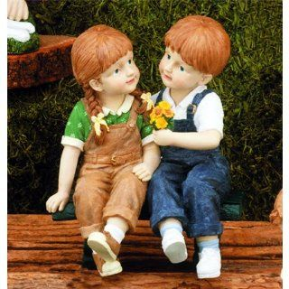 "Boy & Girl on Bench Garden Statue, 10""   Outdoor Statues"