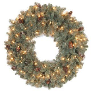 "National Tree 24 Inch ""Feel Real"" Oakridge Blue Wreath with 50 Clear Lights   Artificial Christmas Wreaths"