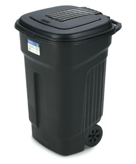 Semco 35 Gallon Injection Molded Square Trash Can with Wheels   Case Pack of 5   Outdoor Trash Cans