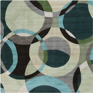 6' x 6' Modern Senzei Spheres Gray, Teal and Black Wool Square Area Throw Rug   Hand Tufted Rugs