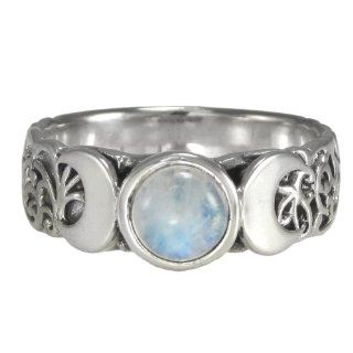 Triple Crescent Moon Goddess Rainbow Moonstone Ring Sterling Silver Wicca Pagan Jewelry (sz 4 15) Wiccan Jewelry Jewelry