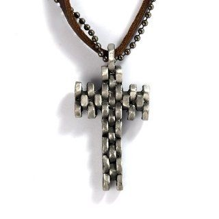 Unique Simple Gothic Style Punk Pewter Mechanical Steampunk Armoured Chain Cross Emblem Design Pendants Chokers Necklaces for Men with Brown Synthetic Leather & Silver grey Alloy Ball Bead Chain Jewelry