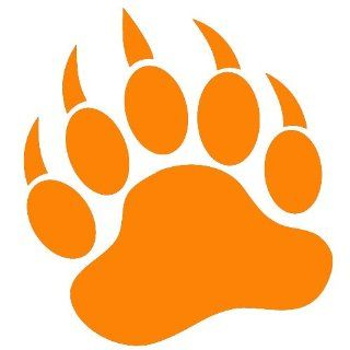 "GRIZZLY BEAR PAW PRINT   Vinyl Decal Sticker 5"" ORANGE Automotive"