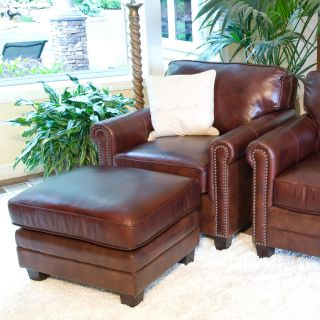 Winslow 2 Piece Set Top Grain Leather Accent Chair and Ottoman in Raisin   Leather Club Chairs