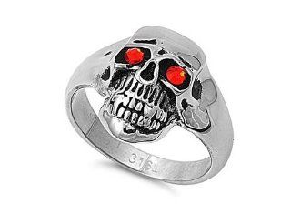 Men's Heavy Scary Skull CZ Eyes Ring Stainless Steel Comfort Fit Band New 21mm Size 14 Jewelry