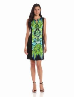 Sandra Darren Women's Sleeveless Twin Print Dress, Chartreuse/Royal, 6