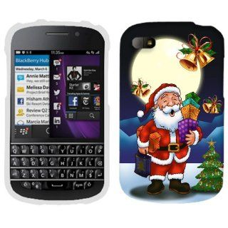 BlackBerry Q10 Merry Christmas Santa in Moon Light Phone Case Cover Cell Phones & Accessories