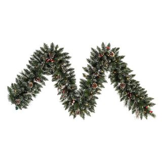 Vickerman 9 ft. Pre Lit Snow Tip Pine and Berry Garland   Clear   Christmas Garland
