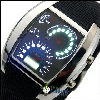 RPM Turbo Blue & White Flash LED Watch Brand NEW Gift Sports Car Meter Dial Men/blue Light/black Band/silver