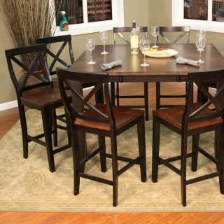 AHB Rosetta 9 Piece Two Tone Counter Height Set with Camden Stools   Dining Table Sets
