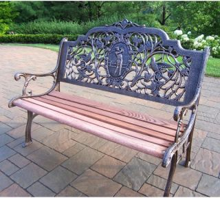 Oakland Living Golfer Cast Aluminum and Wood Bench in Antique Bronze Finish   Outdoor Benches